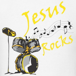 Jesus Rocks w/drum Hoodies - Men's T-Shirt