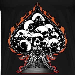 Flaming Spade with Skulls Bags  - Men's Premium T-Shirt