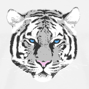 white tiger blue eye Buttons - Men's Premium T-Shirt