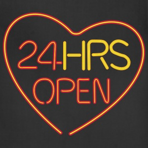 neon sign: 24 hrs open heart - Adjustable Apron