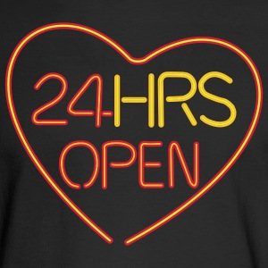 neon sign: 24 hrs open heart - Men's Long Sleeve T-Shirt