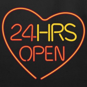 neon sign: 24 hrs open heart - Eco-Friendly Cotton Tote