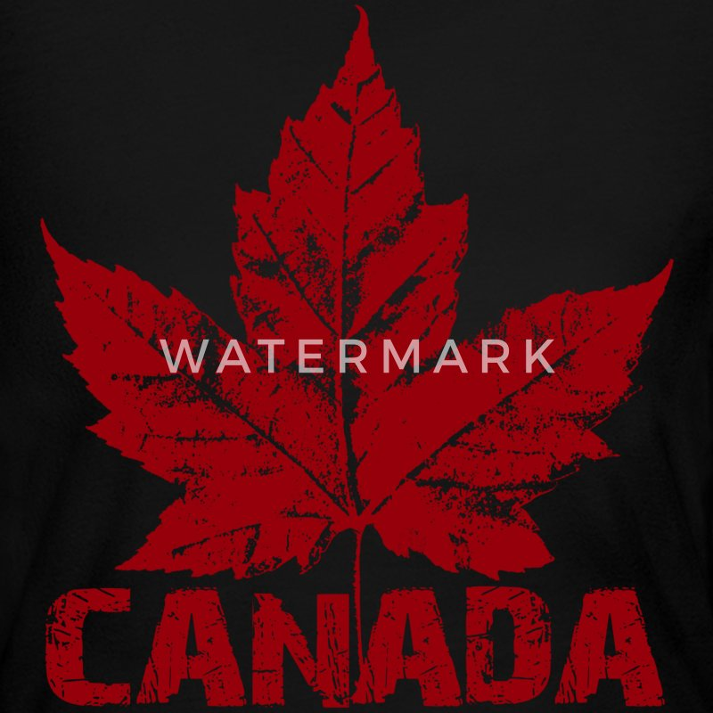 Black Cool Canada Souvenir Distressed Maple Leaf Art for Women - Women's Long Sleeve Jersey T-Shirt