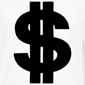 White Dollar - Money - Currency - Bank - Symbol Men - Men's Premium Long Sleeve T-Shirt