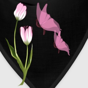 Pink Tulip and Pink Butterflies - Bandana