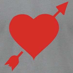 Gray heartandarrow Women - Men's T-Shirt by American Apparel