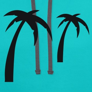 Turquoise Palm - Summer -Sun - Sea - Ocean – Beach Men - Contrast Hoodie