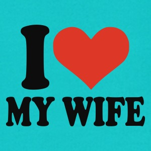 Turquoise I love my wife Men - Contrast Hoodie