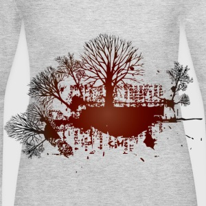 Gray trees red vintage design Women - Women's Long Sleeve Jersey T-Shirt