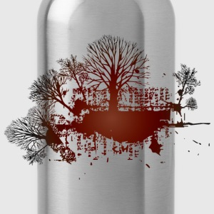 Gray trees red vintage design Women - Water Bottle