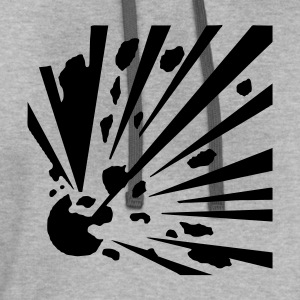 Explosive! Grey cotton men's T-shirt - Contrast Hoodie