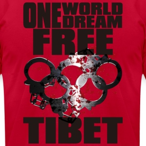 ONE WORLD ONE DREAM FREE TIBET - Men's T-Shirt by American Apparel