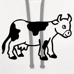 White Baby cow calf Women - Contrast Hoodie