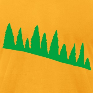 Creme Green Pine Tree Line Accessories - Men's T-Shirt by American Apparel
