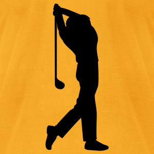 Creme male golfer silhouette Bags  - Men's T-Shirt by American Apparel