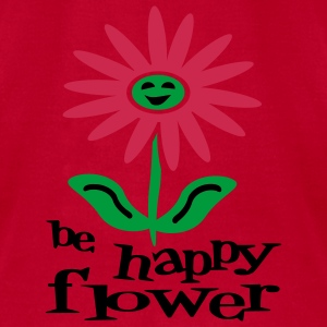 Red Be Happy Flower Baby Body - Men's T-Shirt by American Apparel