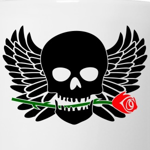 White/black Skull with Wings & Rose 3 Color T-Shirts (Short sleeve) - Coffee/Tea Mug