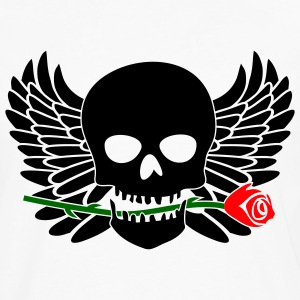 White/black Skull with Wings & Rose 3 Color T-Shirts (Short sleeve) - Men's Premium Long Sleeve T-Shirt