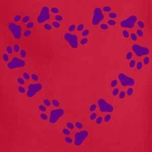 Red Paw Print Heart pawprint dog, cat, Women's Tees (Short sleeve) - Adjustable Apron