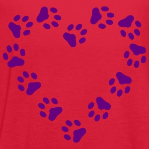 Red Paw Print Heart pawprint dog, cat, Women's Tees (Short sleeve) - Women's Flowy Tank Top by Bella