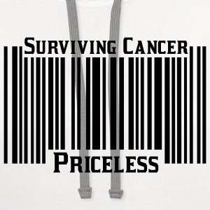 White Surviving Cancer Priceless T-Shirts - Contrast Hoodie