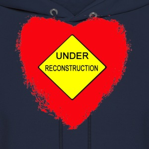 Navy Heart Under Reconstruction T-Shirts (Short sleeve) - Men's Hoodie