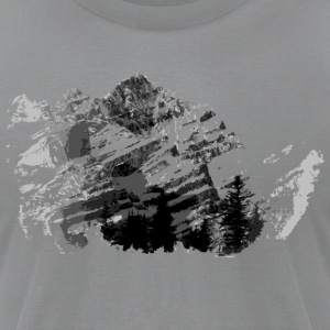 Gray Vintage  Mountain Range Design Long sleeve shirts - Men's T-Shirt by American Apparel
