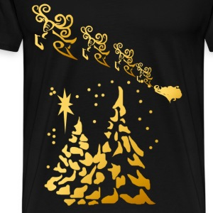 Gold Trees and Santas Reindeer  - Men's Premium T-Shirt