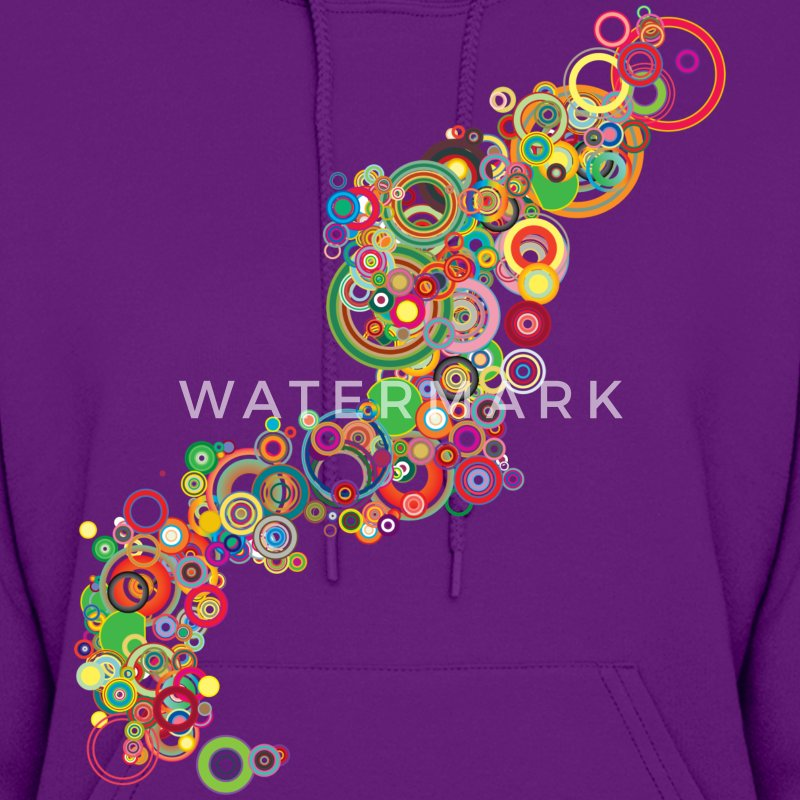 Light pink Retro Colorful Circles Design Hooded Sweatshirts - Women's Hoodie
