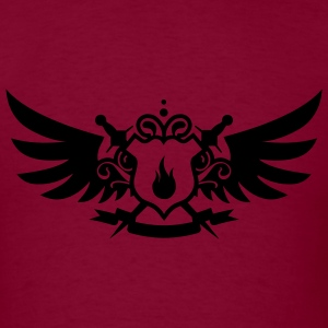 Burgundy Pyro Maniac & Sword Crest Flex Print Hoodies - Men's T-Shirt