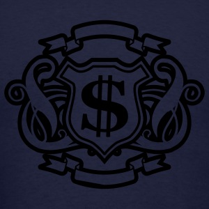 Navy Reflective Gold and Silver Money Graphic Zippered Jackets - Men's T-Shirt