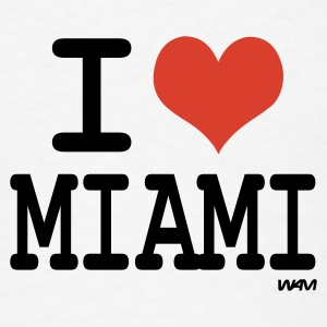 White i love miami by wam Buttons - Men's T-Shirt