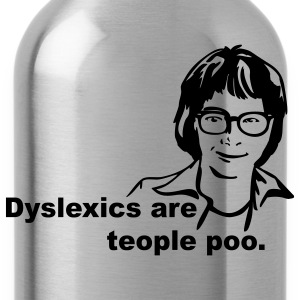 Bright green Dyslexics are teople poo T-Shirts - Water Bottle