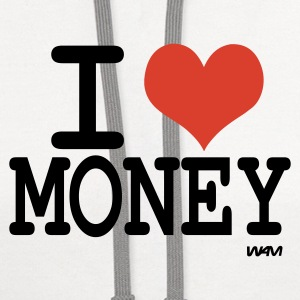 White i love money by wam Tanks - Contrast Hoodie
