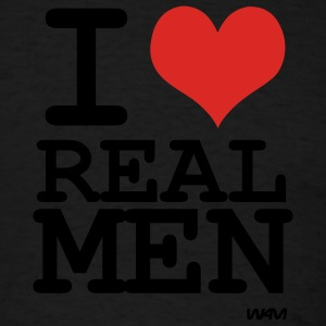 Black i love rea lmen by wam Hooded Sweatshirts - Men's T-Shirt
