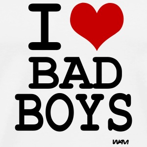 White i love bad boys by wam Buttons - Men's Premium T-Shirt