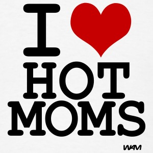 White i love hot moms by wam Buttons - Men's T-Shirt
