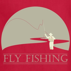 Brown Fly fisherman 2 Fly Fishing shirt design T-Shirts - Adjustable Apron