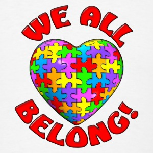 We all belong puzzle heart buttons - Men's T-Shirt