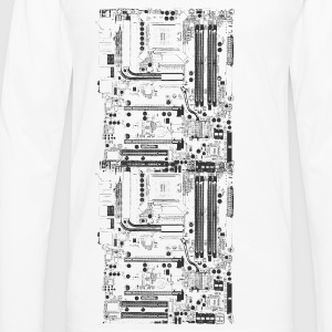 White Computer motherboard Design T-Shirts - Men's Premium Long Sleeve T-Shirt