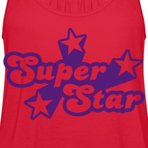 Red Superstar Women's T-shirts - Women's Flowy Tank Top by Bella