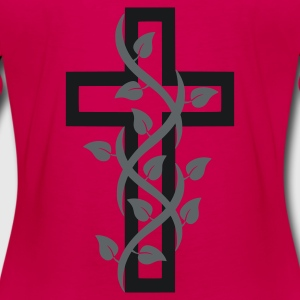 Burgundy Cross Cruz with Leaves Hoodies - Women's Premium Long Sleeve T-Shirt