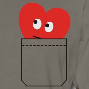 Khaki heart in pocket T-Shirts - Men's Premium Long Sleeve T-Shirt