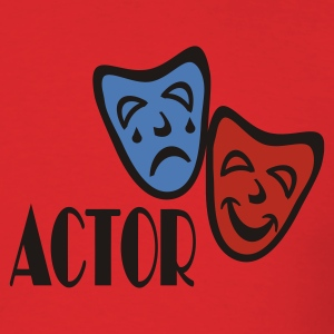 Red Actor With Comedy Tragedy Masks Hooded Sweatshirts - Men's T-Shirt