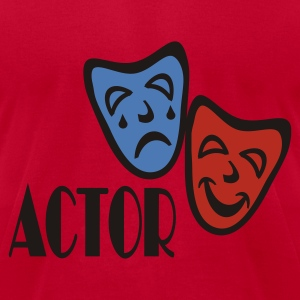 Red Actor With Comedy Tragedy Masks Sweatshirts - Men's T-Shirt by American Apparel