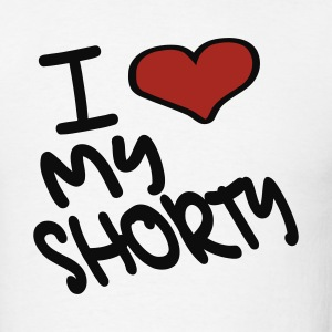 White I Heart My Shorty With Heart Hoodies - Men's T-Shirt