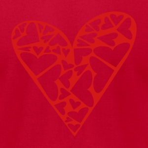 Red Hearts Cut Out In Heart Formation, Asymmetrical Sweatshirts - Men's T-Shirt by American Apparel