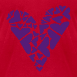 Red Hearts In Heart Formation, Asymmetrical Sweatshirts - Men's T-Shirt by American Apparel