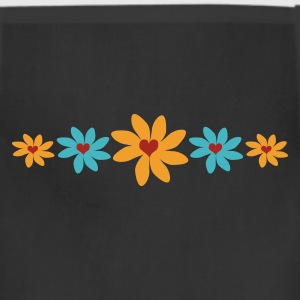 Black Big Petal Heart Flowers, 5 In A Row Women's T-shirts - Adjustable Apron