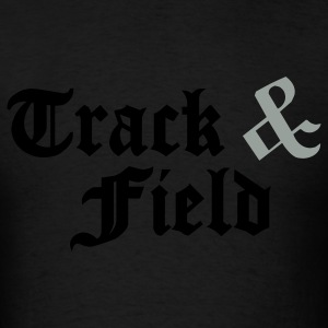Black Track & Field Hooded Sweatshirts - Men's T-Shirt